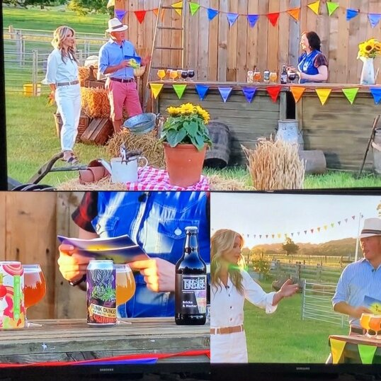 Jules' appearance on Channel Five's Summer on the Farm, where she hosted beer tasting. [Permission granted by Jules Gray to share image]