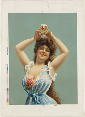 An example of advertising in the beer industry in the early 1900s in the US (Boston Brewery), through the male gaze. [Attribution: Boston Public Library, licensed under the Creative Commons Attribution 2.0 Generic license]