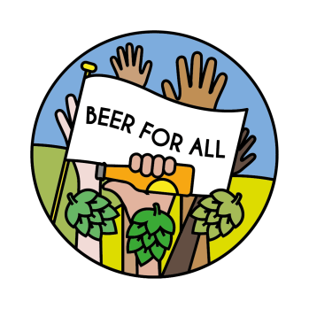 'Beer For All' pin. [Permission granted by Jules Gray to share image]