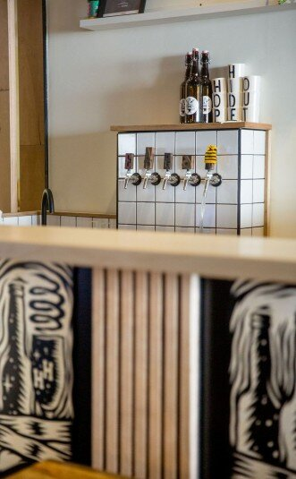 Image of Hop Hideout's beer taps. [Permission granted by Jules Gray to share image]