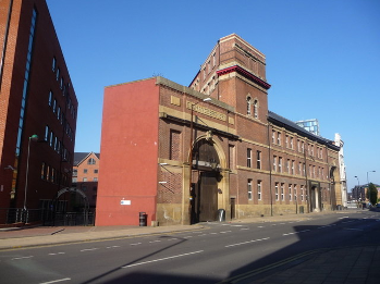 Whitbread's Exchange Brewery in Sheffield, on Bridge Street by the River Don. [Attribution: Chris Downer, licensed under the Creative Commons Attribution-Share Alike 2.0 Generic license]